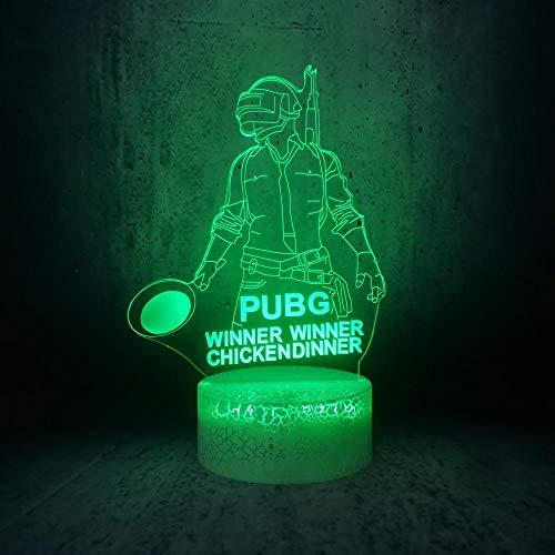 3D Illusion Lampe Led Nachtlicht Heißes Online-Spiel Pubg Gewinner Gewinner Huhn Abendessen Hauptrolle Mann Spiele Fans Jungen Geschenke