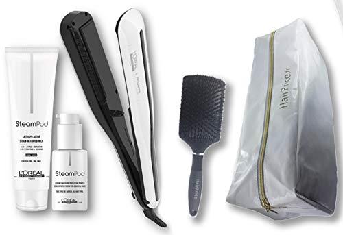 L\'Oréal Professionnel Steampod 3.0 - Plancha alisadora + leche para cabello fino 150 ml + suero de 50 ml + estuche de almacenamiento + cepillo