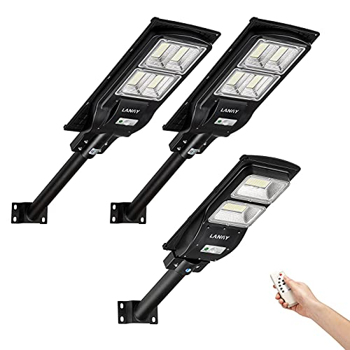 Solar Pakcing Lots Combo,2 Pack Solar Packing Lots Light +1 Pack 60 W Solar Street Lights Outdoor