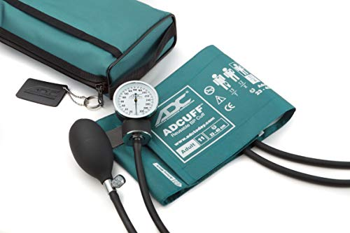 ADC - 768-11ATL Prosphyg 768 Pocket Aneroid Sphygmomanometer with Adcuff Nylon Blood Pressure Cuff, Adult, and Carrying Case, Teal