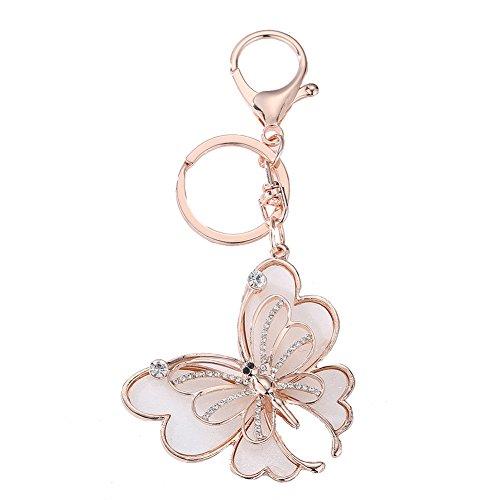 Prosperveil Rhinestone Keyring Cute Butterfly Crystal Keychain Keyrings for Women Girls Bag Purse Handbag Charms Pendant Birthday Gift (Rose Gold)
