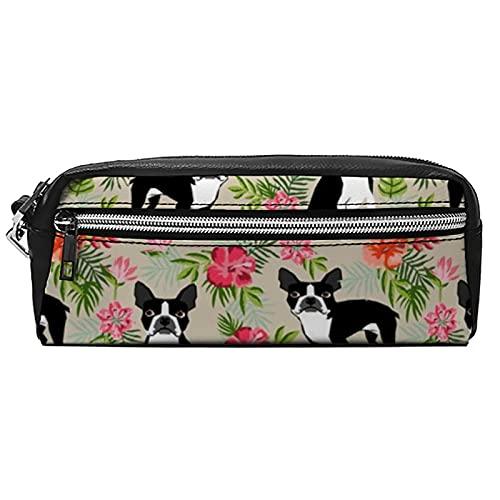 Borsa portatile per cosmetici, astuccio magico, per trucchi, tema hawaiianboston terrier, in pelle PU, con chiusura lampo