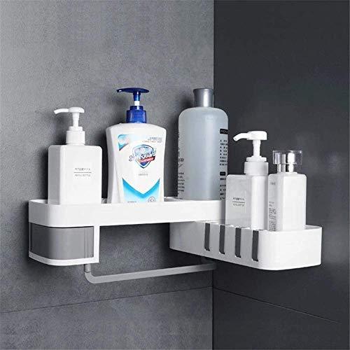 Estante de ducha para esquina de baño montado en la pared, organizador de almacenamiento para baño, organizador de baño autoadhesivo