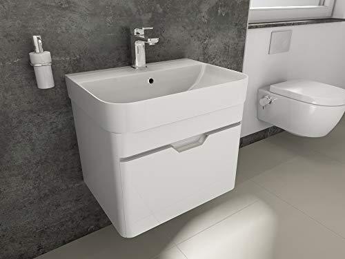Aqua Bagno Badmöbel-Set Piccolo Waschtisch mit Unterschrank aus Keramik Weiß Hochglanz | 57 cm