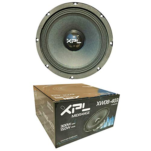 "1 MIDRANGE XPL XW08-403 XW08 403 Altavoz Mid Bass 20,00 cm 200 mm 8"" 150 vatios rms 300 vatios máx impedancia 4 ohmios 99 db spl Coche Negro, 1 Pieza"