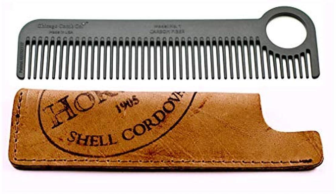 静脈石炭染料Chicago Comb Model 1 Carbon Fiber Comb + Horween Shell Cordovan Color No. 8 sheath, Made in USA, ultimate pocket & travel comb, ultra smooth strong & light, anti-static, premium American leather [並行輸入品]