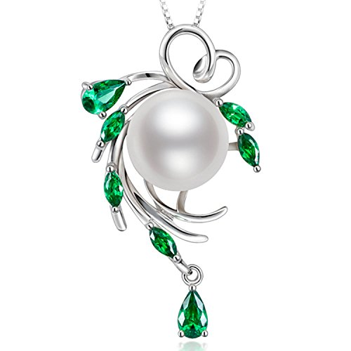 HXZZ Birthday Gifts for women Fine Jewelry Sterling Silver Genuine Freshwater Cultured White Pearl Pendant Necklace Valentine's Day New Year Gifts for Women for Her