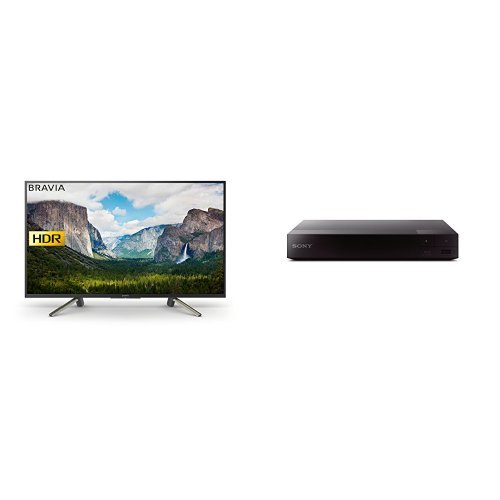 Sony Bravia KDL43WF663 43 Inch Full HD HDR Smart TV with Freeview Play, Black, 2018 + Smart Blu-Ray and DVD Player with Wi-Fi and Built-In Apps (2016 Model), Black