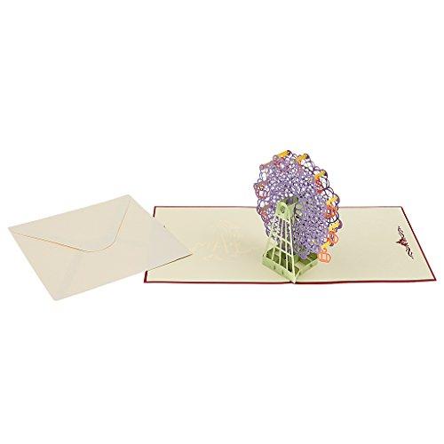 3D Pop Up Carte de V½ux de Grande Roue Noël / Valentine / Mariage - Pourpre