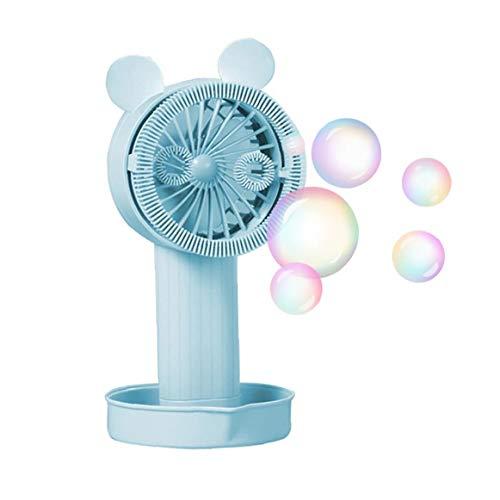 Deanyi Bubble Machine Fan beweglicher Handventilator Kleine persönliche bewegliche Tischventilator mit USB aufladbare Bubble Maker Spiel für Kinder im Freien (blau)