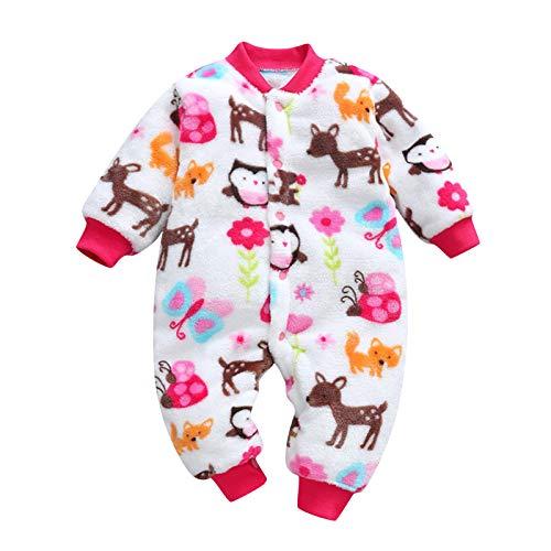 Janly Clearance Sale Conjunto de trajes y conjuntos para niñas, recién nacidos, bebés, niñas y niños, estampado grueso y cálido, para 12-18 meses (rosa caliente)