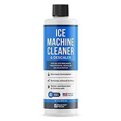 Essential Values Ice Machine Cleaner 16 fl oz, Nickel Safe Descaler   Ice Maker Cleaner Compatible with: Whirlpool 4396808, Manitowac, Ice-O-Matic, Scotsman, Follett & more! - Made in USA
