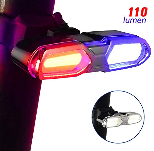 DON PEREGRINO B3-110 Lumens Ultra Bright Bike Rear Light White Red/Blue, LED Rechargeable Bicycle Tail Light with 6 Modes