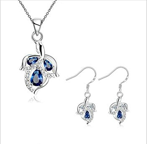 Aeici Set di Gioielli per Donne Blu Orecchini A Forma di Foglia Design 2 Pezzi