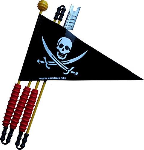 Karl Drais ® Fahrradwimpel Piraten Sicherheitswimpel | Reißfest aus Heavy Duty LKW Plane | Fahrrad Wimpel Jungen Piratenfahne Kinderfahrrad (160 cm Fahrradfahne)