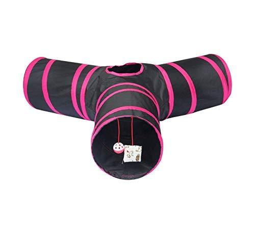 Cosy Life 3-Wege Katzentunnel mit Spielzeug/Spieltunnel für Kleintiere - Schwarz-Pink