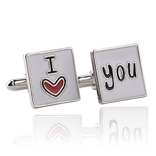 Gemelos de boda con diseño de sonrisa de la cara de la tierra, póquer, tambor de violín y reloj de arena para hombre con diseño 'I Love You'