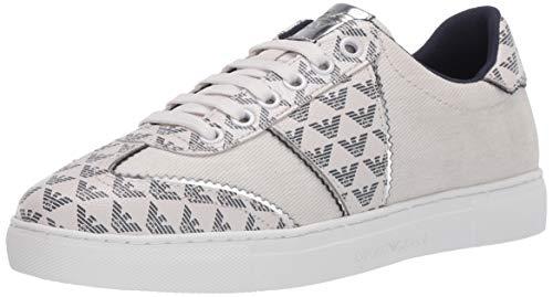 Emporio Armani Damen Multi Logi Sneaker Turnschuh, Grau und silberfarben, 39 EU