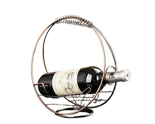 PANDA SUPERSTORE [Roundness] Ironwork Creative Wine Rack Storage Organizer Display Holder Bronze
