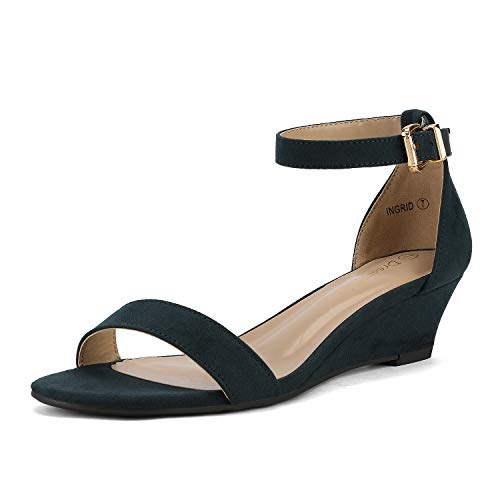 DREAM PAIRS Women's Ingrid Navy Suede Ankle Strap Low Wedge Sandals Size 5.5 M US