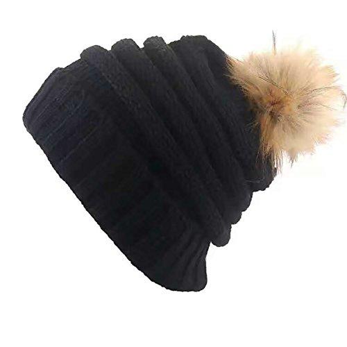 Bukely Damen Wintermützen Beanie Mütze Flecht Muster Beanie Mütze mit Bommel Strickmützen Winter (Schwarz)