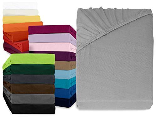 npluseins klassisches Jersey Spannbetttuch - erhältlich in 34 modernen Farben und 6 verschiedenen Größen - 100% Baumwolle, 180-200 x 200 cm, Silber