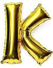 بالونات لماعة ذهبية بتصميم احرف مقاس 16 انش (40 سم)، بالونات تعليق مصنوعة من ورق الالمنيوم، بالونات مايلر، بالونات هواء، لا يمكن أن تطفو. بشكل حرف كيه