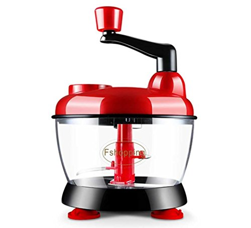 Fshopping hand crank food processor chopper with suction base and water throw-off basket