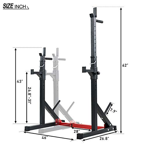 Vanswe Multi-Function Barbell Rack 550LBS Capacity Dip Stand Home Gym Fitness Adjustable Squat Rack Weight Lifting Bench Press Dipping Station (Black/Red)
