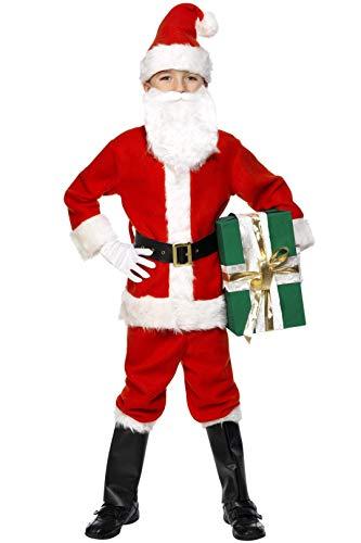 Smiffys, Kinder Jungen Weihnachtsmann Kostüm, Jacke, Hose, Gürtel, Mütze, Handschuhe, Überstiefel und Bart, Größe: L, 34584