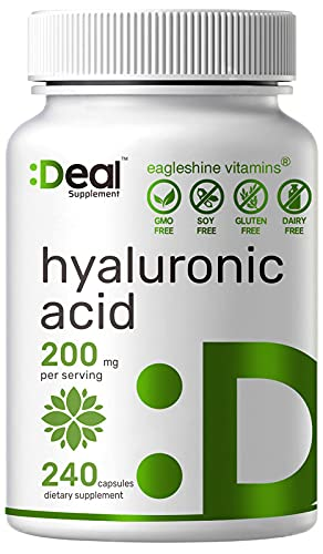 Eagleshine Vitamins Pure Hyaluronic Acid Supplements 200mg, 240 Capsules, 4 Months Supply, Improve Skin, Face, Hair, Nail Condition and Support Healthy Joints, Bones & Connective Tissue