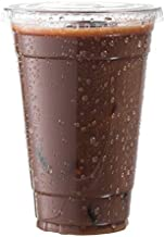 100-Pack Disposable Hard Plastic Cups with Flat Lids –16 oz - Crystal Clear Drink Cups – Hole for Straws – Ideal Cups for Water Fountains, Parties, Festivals, Kiosk, On the Go'