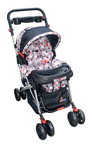 Sunbaby Bloom Stroller/Pram for New Born 0-3 Years,Extra Wide/Thick Cushion seat,2 Food Trays, Reversible Handle,Mosquito Net for...