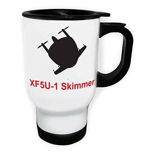 XX5U-1 Skimmer PLANE Pilot Jet Vintage Tasse de voyage thermique blanche 14oz 400ml c647tw