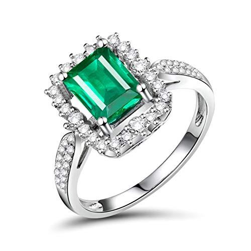 Daesar Anillos de Oro Blanco Mujer 18 Kilates,Rectángulo Esmeralda Verde 1.33ct Diamante 0.36ct,Plata Verde Talla 20