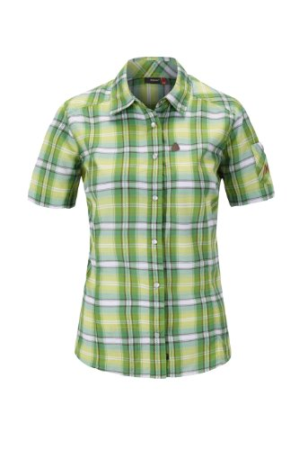 Maier Sports Femmes Orta Chemise à Manches Courtes Multicolore Motif Carreaux Vert/Marron 42 (EU)
