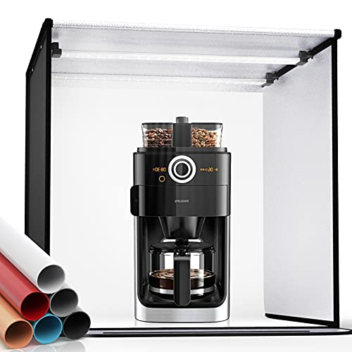 FOSITAN Photo Studio Light Box 24'/60cm Bi-Color Dimmable 3200K-5700K Photo Shooting...