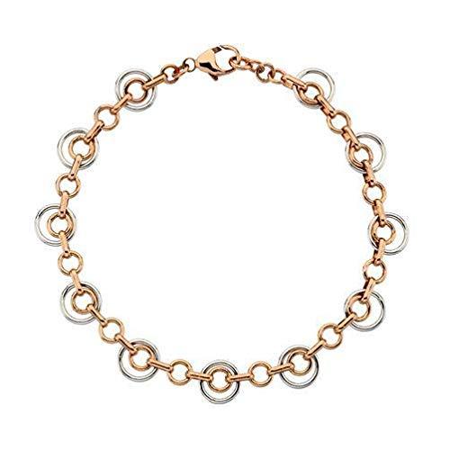 Colección de oro de 9 quilates, rojo/rosa y blanco, doble círculo de 07'