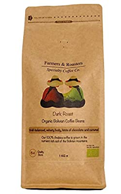 Farmers & Roasters | Premium Speciality Organic Coffee Beans - Rich in Flavours and Aromas - Single Origin - 1kg Bag - Can be use in All Coffee Machine