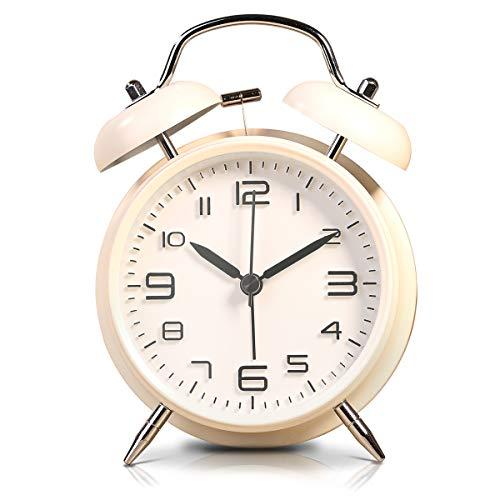 LATEC Reloj Despertador de Doble Campana con luz Nocturna, Gran Esfera de 4 Pulgadas, batería de Reloj Despertador Ruidoso, sin tictac, silencioso, Timbre de Alarma Retro, Unidad de Cuarzo