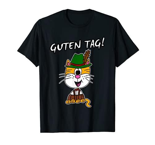 Bayerische Katze Deutscher Tiroler Hut Lederhose T-Shirt