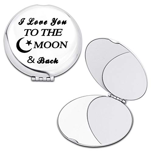 FAADBUK Best Gift For Girlfriend Mother Sister Daughter Aunt Grandmother Portable Cosmetic Makeup Mirror I Love You to The Moon and Back Compact Travel Mirrors (Moon and Back Mirror)