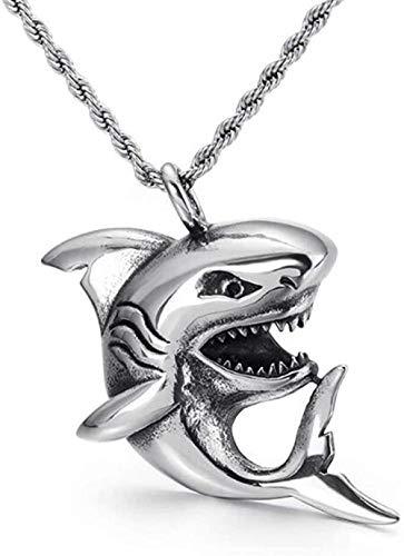 NC190 Collar con Colgante de tiburón pequeño de Acero Inoxidable Creativo, Collares de tiburón con pez de mar Profundo, Regalo de joyería para él