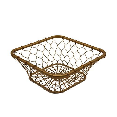 CVHOMEDECO. Corbeille à fruits carrée en métal Style vintage Doré 20,3 x 20,3 x 7,6 cm