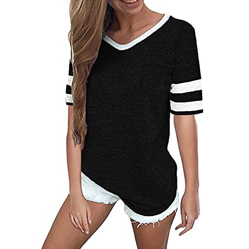 FREW Camiseta de manga corta para mujer con cuello en V, camiseta de verano, camiseta larga a rayas, camiseta deportiva, informal, monocolor negro (schwarz 1) S