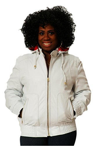 CD D C Womens Leather Hooded Hoodie Jacket Smooth Sheepskin M White