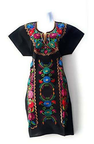 Mexican Embroidered Dress from Oaxaca Mexico Medium womens vestidos bordados mexicanos huipil black colorful dress vestidos mexicanos long traditional dresses ropa mexicana vestidos bordados flower