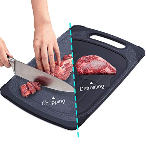 GEMITTO 2 en 1 Tabla de Cortar Cocina y Bandeja de Descongelación Rápida con Diseño de Suspensión, Sin Congelación Electrolítica, Certificado de la FDA (Negro)