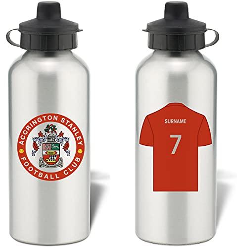 Personalised Accrington Stanley Aluminium Sports Water Bottle - Silver Bottle