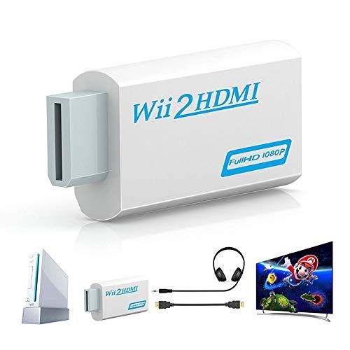 Wii a hdmi Convertidor, Adaptador WII2HDMI 1080P 720P Conector Output Video y 3.5mm Jack Audio Admite Wii Signal a Todos los Modos Display Compatible con Nintendo Wii